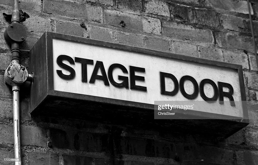 Stage Door - Old fashioned entrance sign : Stock Photo