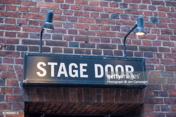 stage door - entrance sign stock photos and pictures