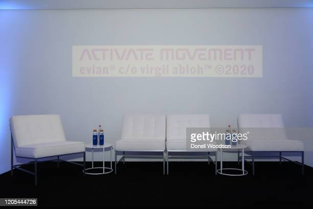 Stage is set for a panel discussion at the Evian Virgil Abloh Collaboration party at Milk Studios on February 10 2020 in New York City