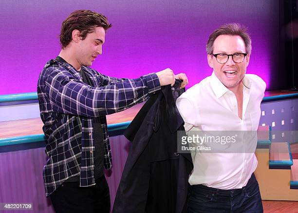 Stage JD Ryan McCartan and Original film JD Christian Slater meet backstage at the new musical Heathers at New World Stages on April 2 2014 in New...