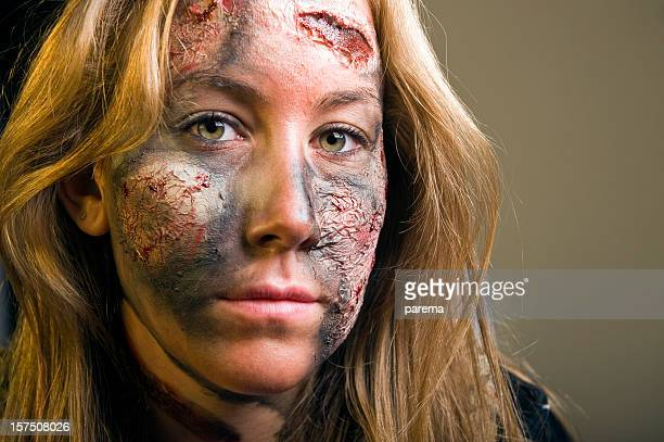 stage make up - burns victims stock pictures, royalty-free photos & images