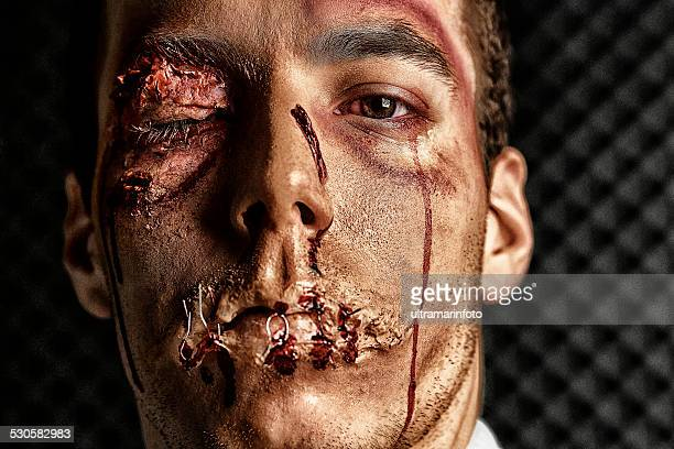 stage makeup beaten face  hdr portrait  young man   ultimate fighter - bruise stock photos and pictures