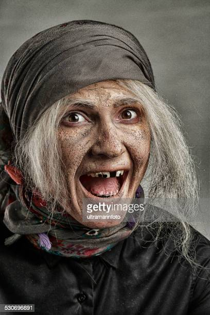 stage makeup mask    transformation process young  woman  in snior grandmother - pores stock photos and pictures