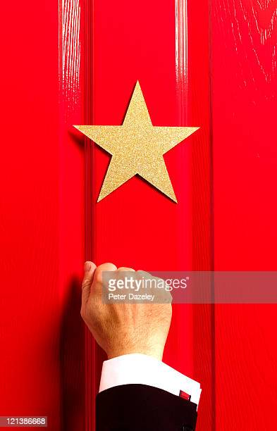 stage manager knocking on star's door - star shape stock pictures, royalty-free photos & images