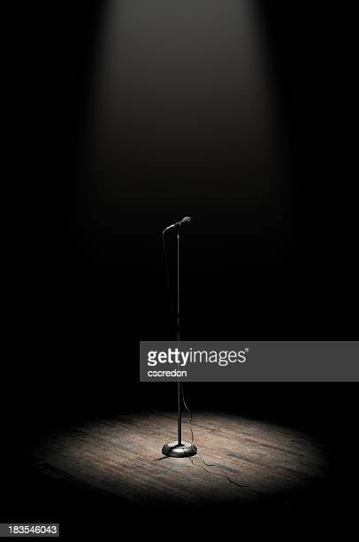 stage microphone - spotlit stock pictures, royalty-free photos & images