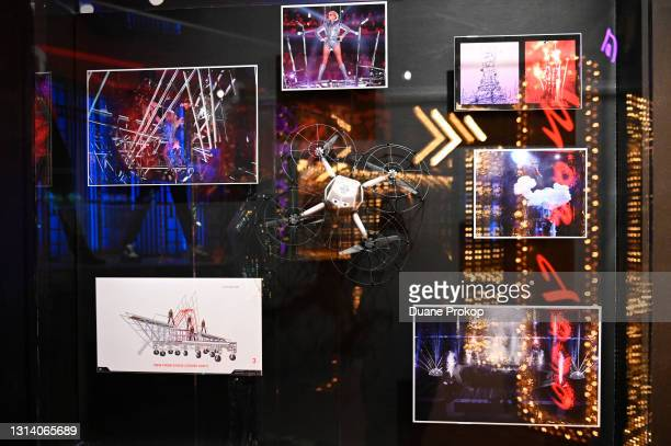 Stage models and an Intel Shooting Star drone from Lady Gaga's performance during the Pepsi Zero Sugar Super Bowl LI Halftime Show is on display at...