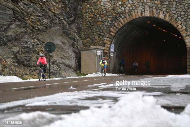 Stage neutralized - canceled due to snow and hail in the final 20km to finish-line / Snow / Fans / Public / during the 106th Tour de France 2019,...