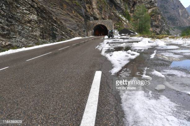 Stage neutralized - canceled due to snow and hail in the final 20km to finish-line / Snow / Landscape / during the 106th Tour de France 2019, Stage...