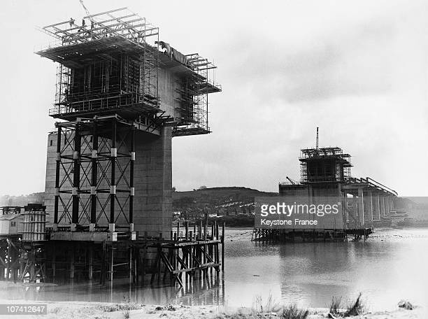 Stage Of Construction Of Medway Bridge In United Kingdom On March 12Nd 1962