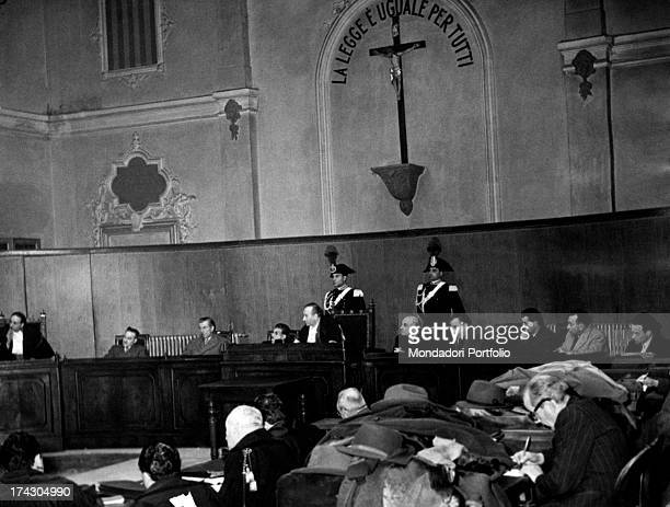 A stage of the trial of Pia Bellentani for having killed her lover Carlo sacchi with a shot from a 9mm caliber revolver the 15th September 1948 Como...
