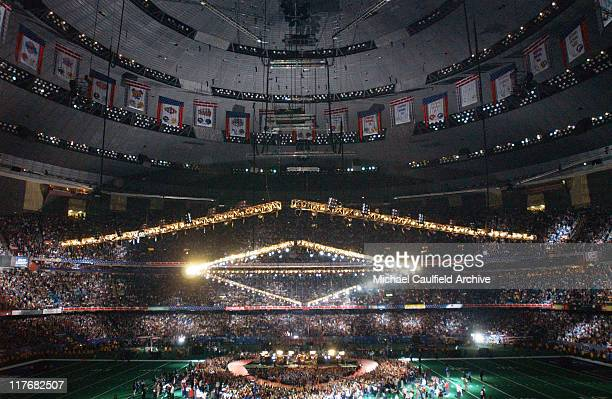 Stage overview during Super Bowl XXXVI Halftime Show with U2 at The Superdome in New Orleans Louisiana United States