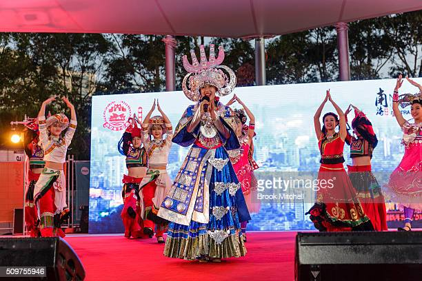 Stage performers at the Chinese New Year Lantern Festival at Tumbalong Park on February 12 2016 in Sydney Australia The lighting of lanterns is a...