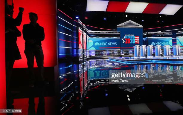Stage preparation continues for tomorrow's Democratic presidential debate at Paris Las Vegas on February 18 2020 in Las Vegas Nevada More than 26000...
