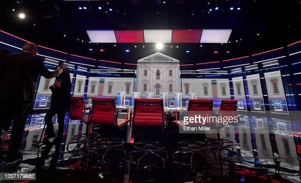 Stage preparation continues for tomorrow's Democratic presidential debate at Paris Las Vegas on February 18 2020 in Las Vegas Nevada More than 36000...