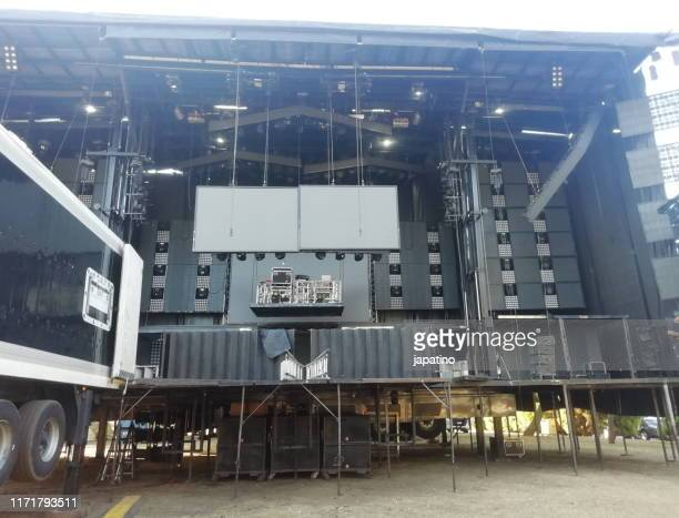 stage prepared for a concert - backstage stock pictures, royalty-free photos & images