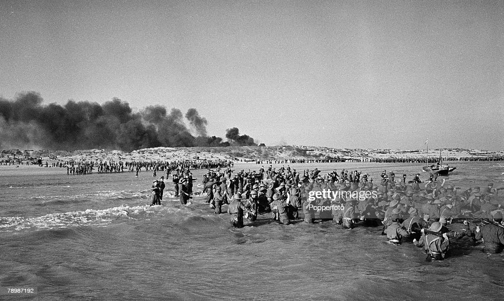 Stage & Screen, Camber Sands, England, 1957, The beaches packed with 'soldiers' wading out into the sea during Ealing Studios film reconstruction of the evacution of the Dunkirk beaches from World War Two
