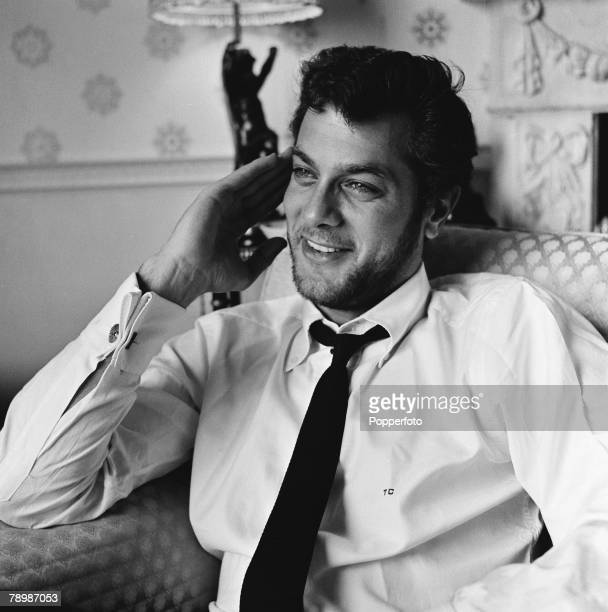 Stage Screen Dorchester Hotel London England American film and movie actor Tony Curtis relaxing in his room