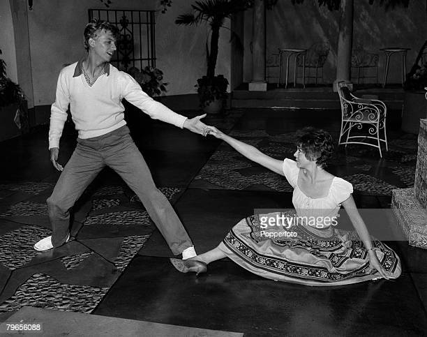 Stage Screen Elstree Studios England 21st June 1959 Actor and singer Tommy Steele and Janet Munro rehearse for their film Tommy the Toreador