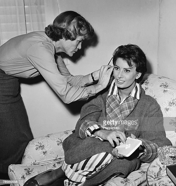 Stage Screen England Italian actress Sophia Loren having her hair adjusted while making the film The Key at Elstree Studio's