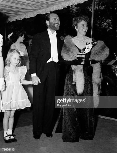 Stage Screen London England 6th May 1948 British film and movie actor John Mills with his wife and daughter Juliette attend a film premier