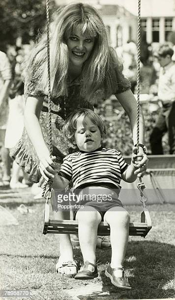 Stage Screen London England Actress Lynn Redgrave enjoying the swings with two year old son Benjamin