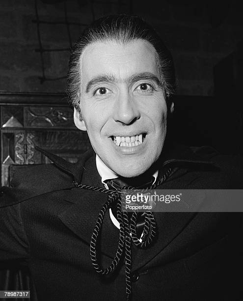 Stage Screen London England making the horror film Dracula at Bray studio's Actor Christopher Lee showing his 'teeth'