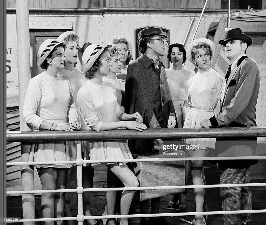 Stage & Screen. Shepperton Studios, England. 1957. Some of the cast of the film 'Blue Murder at St. Trinians'. Actors include, Vicki Hammond, Jose Read, Lisa Gastoni, Marigold Russell, Dilys Haye, Rosalind Knight, Lionel Jefferies and George Cole. : News Photo