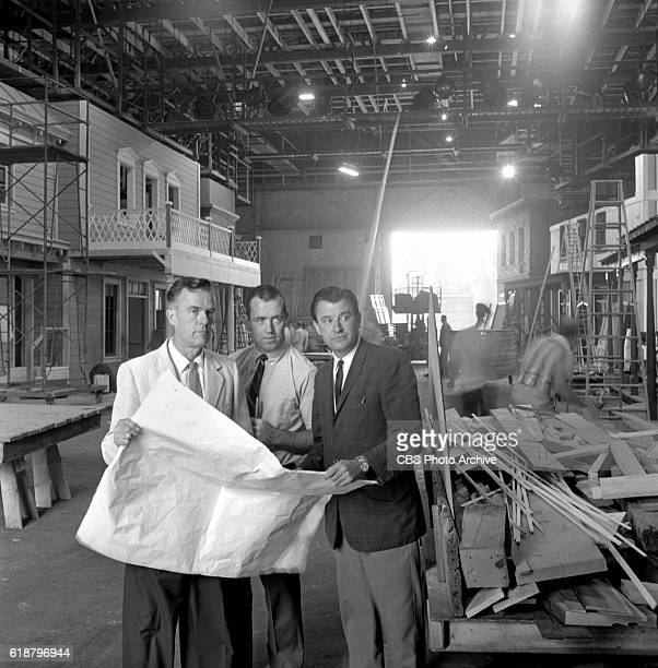 Stage sets under construction when Gunsmoke moves to CBS Studio Center from Paramount Sunset studios location Production designer and art director...