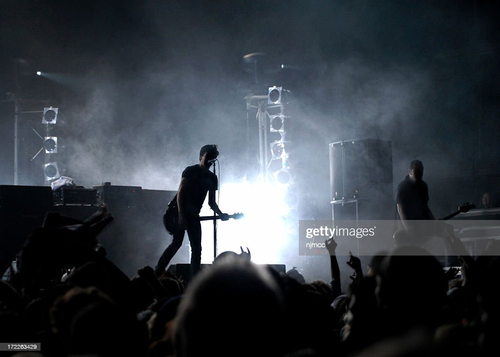 Stage view of an alive rock concert : Stock Photo