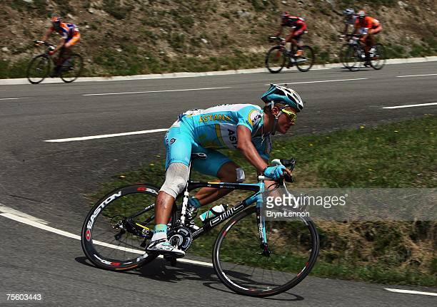 Stage winner Alexandre Vinokourov of Kazakhstan and Astana in action during stage 15 of the 2007 Tour de France from Foix to Loudenvielle Le Louron...