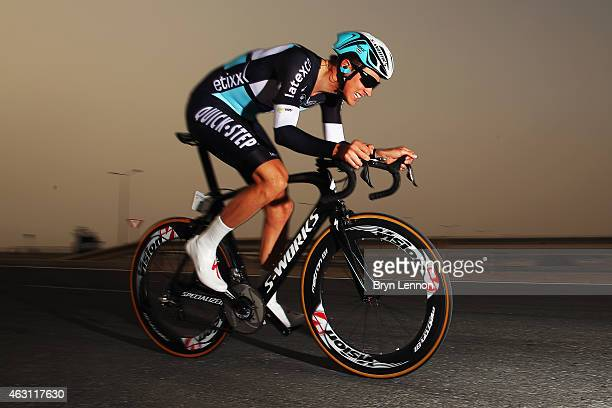 Stage winner and new race leader Niki Terpstra of The Netherlands and the Etixx QuickStep team in action on stage three of the 2015 Tour of Qatar a...