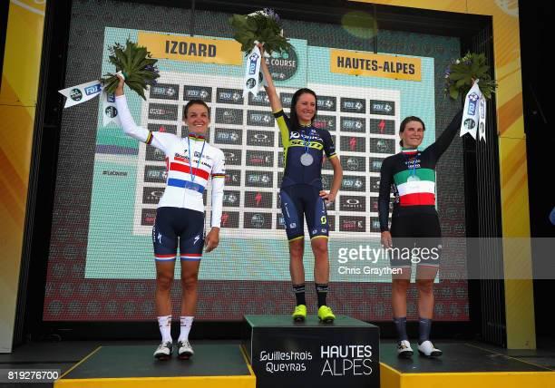 Stage winner Annemiek Van Vleuten of Netherlands and Team Orica Scott with second placed Lizzie Deignan of Great Britain and Boels Dolsmans...