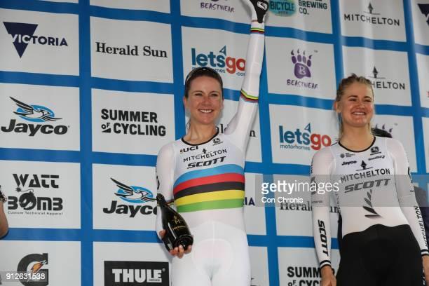 Stage winner Annemiek Van Vluten MitcheltonScott wins the Women's 2018 Herald Sun Tour Prologue 16km Individual Time Trial on January 31 2018 in...