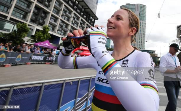Stage winner Annemiek Van Vluten MitcheltonScottcon wins the Women's 2018 Herald Sun Tour Prologue 16km Individual Time Trial on January 31 2018 in...