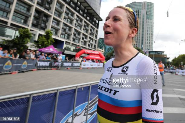 Stage winner Annemiek Van Vluten MitcheltonScottcon wins the Women's 2018 Herald Sun Tour Prologue 16km Individual Time Trial on January 31 2018 in...