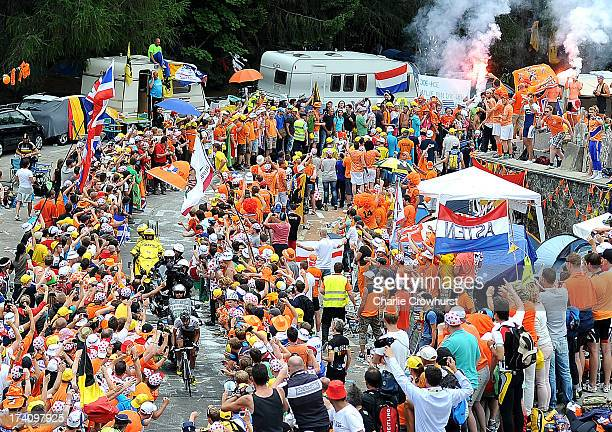 Stage winner Christophe Riblon of Team Ag2rLa Mondiale makes his way through Dutch corner during stage eighteen of the 2013 Tour de France a 1725KM...