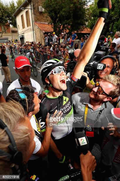 Stage winner Edvald Boasson Hagen of Norway riding for Team Dimension Data celebrates after stage nineteen of the 2017 Tour de France a 2225km stage...