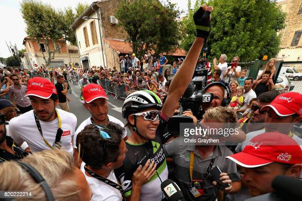 Stage winner Edvald Boasson Hagen of Norway riding for Team Dimension Data celebrates after stage nineteen of the 2017 Tour de France, a 222.5km...