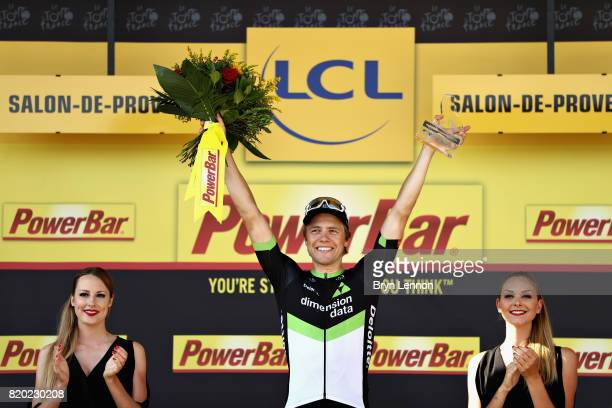 Stage winner Edvald Boasson Hagen of Norway riding for Team Dimension Data celebrates on the podium after stage nineteen of the 2017 Tour de France,...