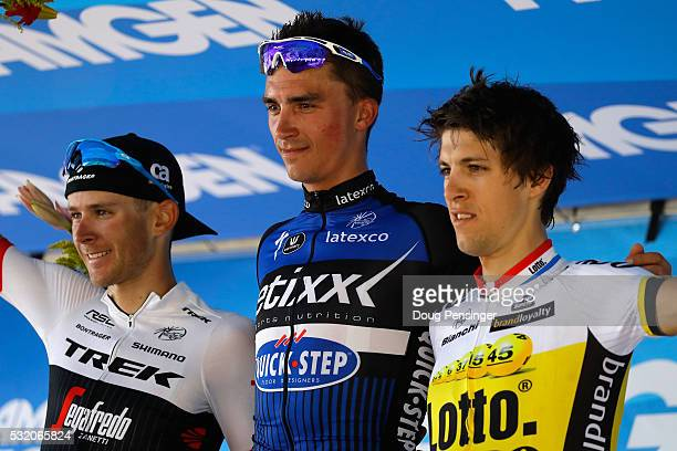 Stage winner Julian Alphilppe of France riding for Ettix QuickStep takes the podium with Peter Stetina of the United States riding for TrekSegafredo...