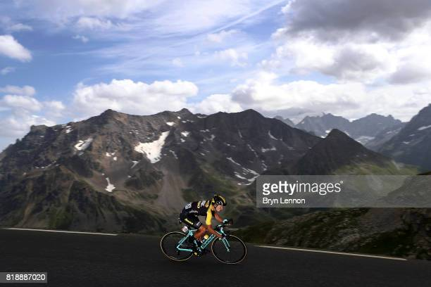 Stage winner of Primoz Roglic of Slovenia and Team Lotto NL-Jumbo descends the Col du Galibier on stage seventeen of the 2017 Tour de France, a 183km...