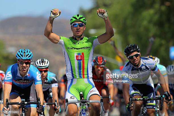 Stage winner Peter Sagan of Slovakia riding for Cannondale Pro Cycling celebrates as he finishes ahead of Michael Matthews of Australia riding for...