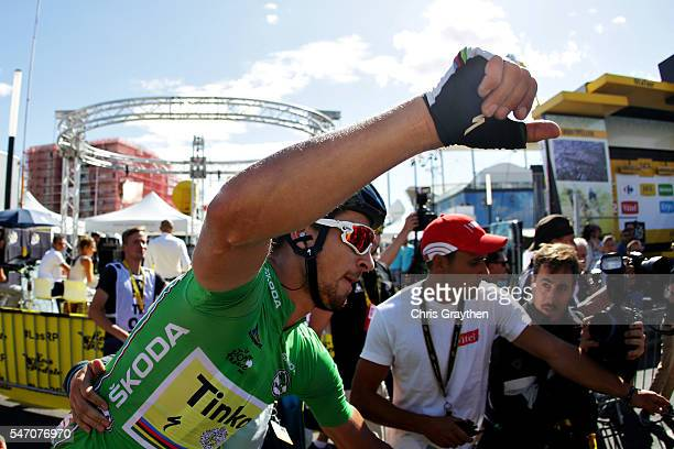 Stage winner Peter Sagan of Slovakia riding for Tinkoff rides through the crowds at the end of stage eleven of the 2016 Le Tour de France, a 162.5 km...