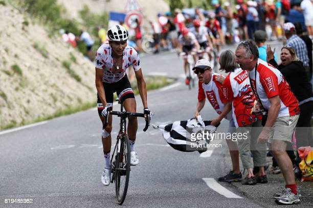 Stage winner Warren Barguil of France riding for Team Sunweb attacks on the final climb during stage eighteen of the 2017 Tour de France a 1795km...