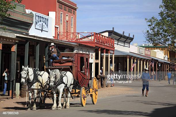 stagecoach on the street - tombstone arizona stock pictures, royalty-free photos & images