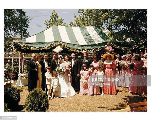 A staged wedding photograph from the film The Godfather