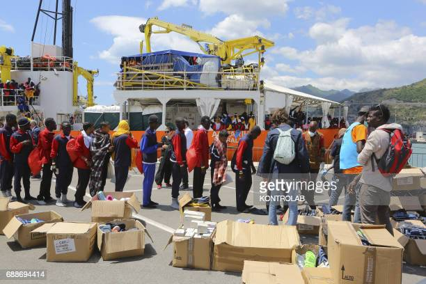 Stages of landing from the Ship Acquarius of ItalianFrancoGerman humanitarian organization «Sos Mediterranee» in partnership with «Medici senza...