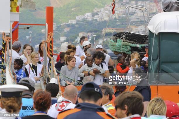 Stages of landing from the Ship Acquarius of ItalianFrancoGerman humanitarian organization «Sos Mediterranee» in partnership with «Medici senza...