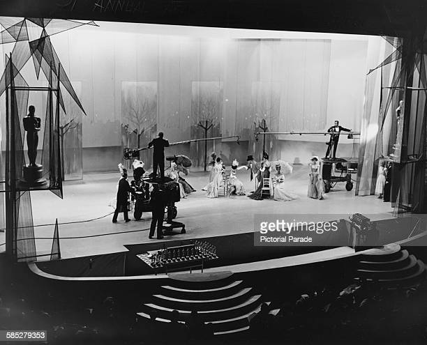 A stages scene from the film 'Gigi' with actor Maurice Chevalier on stage at the 31st Academy Awards Los Angeles April 6th 1959