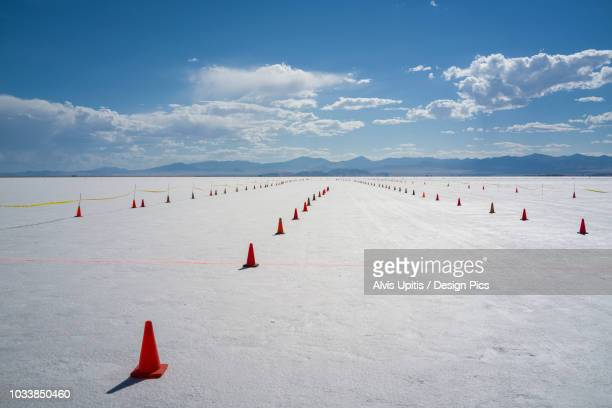 staging lanes at starting line on bonneville salt flats of bonneville speed week 2017 - bonneville salt flats stock pictures, royalty-free photos & images